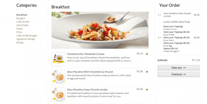 The menu's breakfast category. On the left are links to the rest of the categories, and on the right is the shopping cart. There is a display image for the category, and with each item appears a thumbnail, price, and a description.