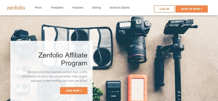 screenshot of the affiliate sign up page for Zenfolio