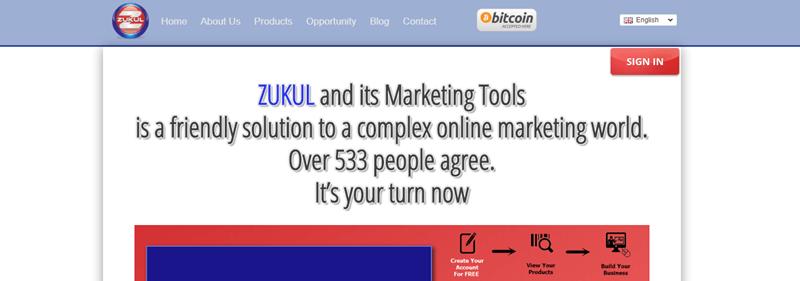 Zukul website screenshot showing text that talks about Zukul's marketing solution and various menu links.