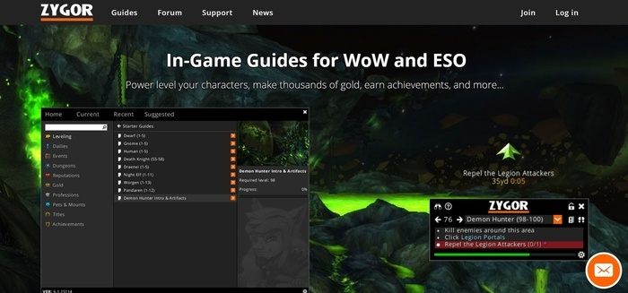 screenshot of the affiliate sign up page for Zygor Guides