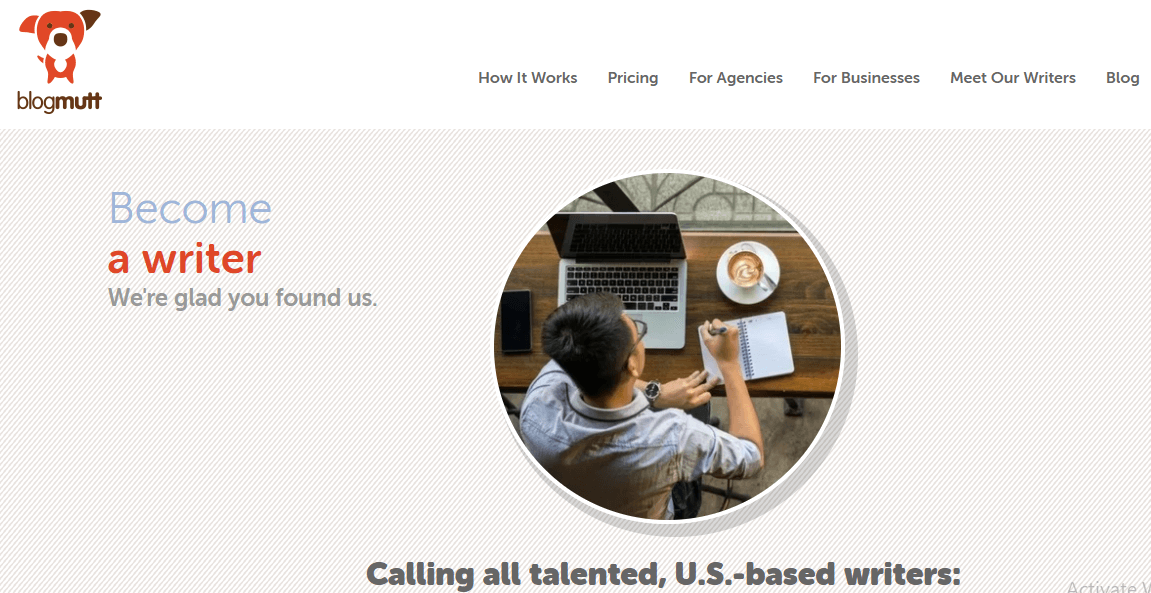 This is a screenshot of the page freelance writers see when they apply for freelancing work at Blogmutt.