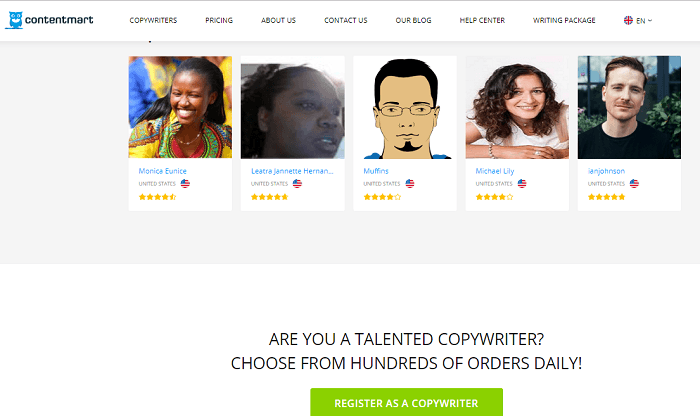 This is a screenshot from the website Contentmart that shows the button interested freelance writers must hit to sign up with the Indian-based company.