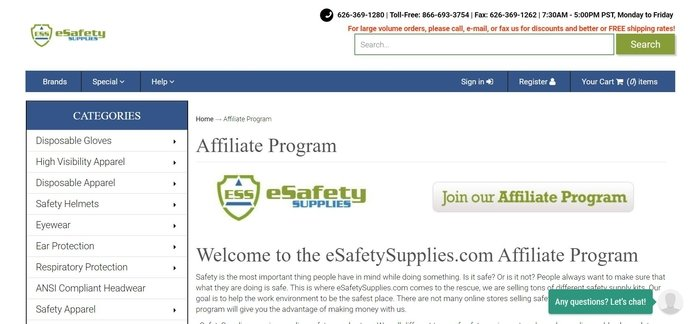 screenshot of the affiliate sign up page for eSafety Supplies
