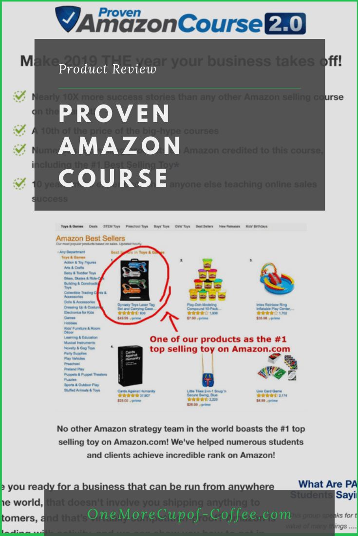 """screenshot of proven amazon course sales page with title """"proven amazon course review"""""""