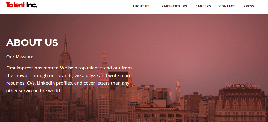 "This is a screenshot of the ""About Us"" page from Talent Inc., a company offering paying work to quailifying prospective writers."