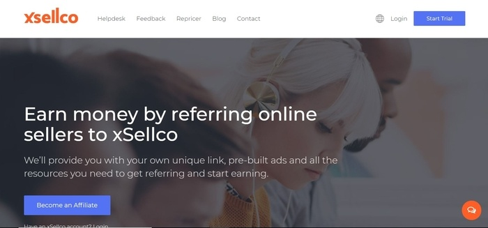 screenshot of the affiliate sign up page for xSellco