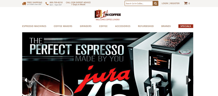 1st in Coffee website screenshot showing an silver and black espresso machine from the company.