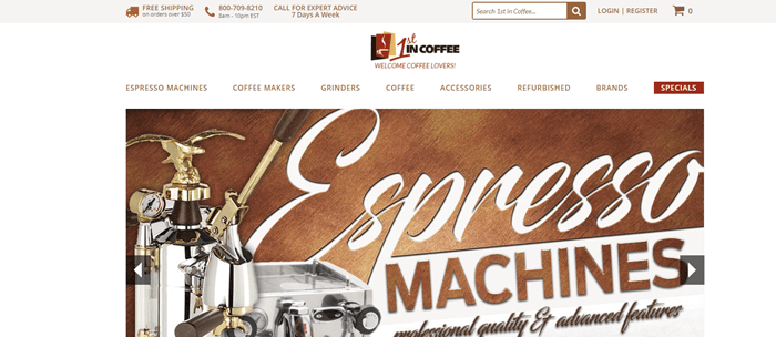 1st in Coffee website screenshot showing a complex espresso machine with silver and gold.
