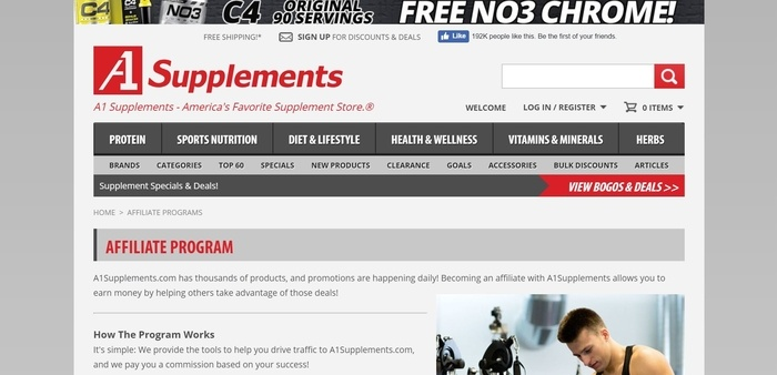 screenshot of the affiliate sign up page for A1Supplements
