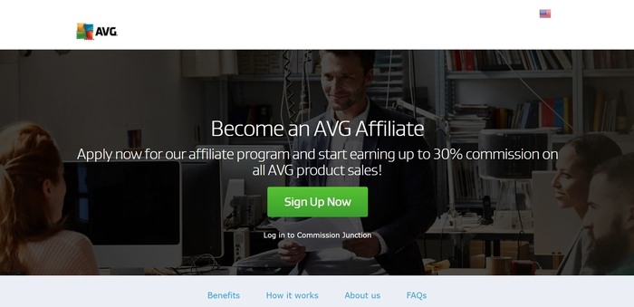 screenshot of the affiliate sign up page for AVG Technologies