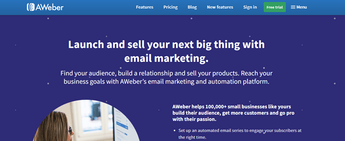 AWeber website screenshot showing white text on a blue background, talking about how AWeber is powerful for email marketing.