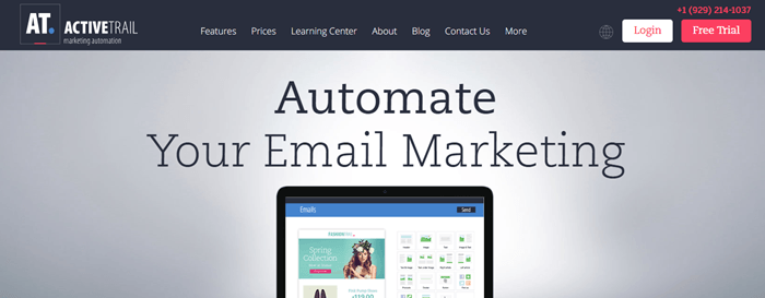 ActiveTrail website screenshot showing text about automating email marketing and tablet with an image from ActiveTrail.