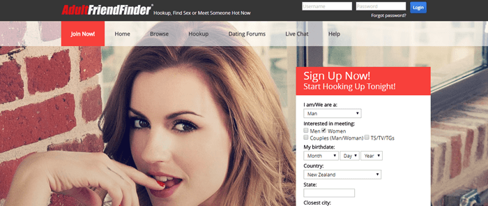 Adult Friend Finder website screenshot showing a young brown-haired woman biting her finger.