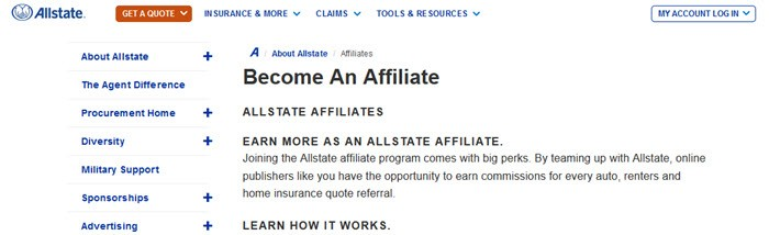 All State Affiliate Program showing details of becoming an affiliate