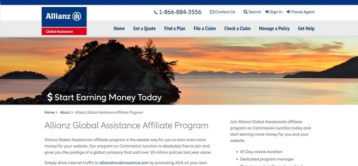 screenshot of the affiliate sign up page for Allianz Travel Insurance