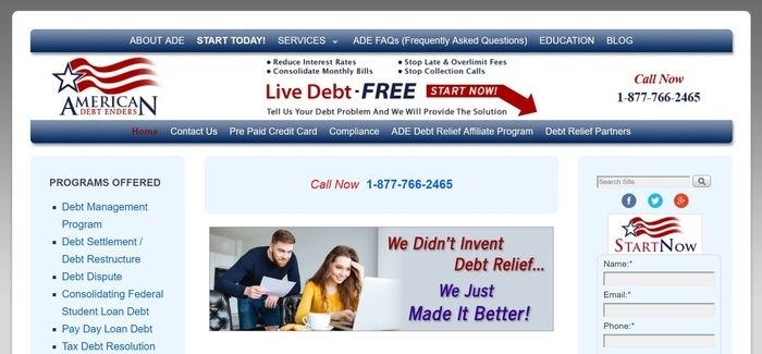 screenshot of the affiliate sign up page for American Debt Enders