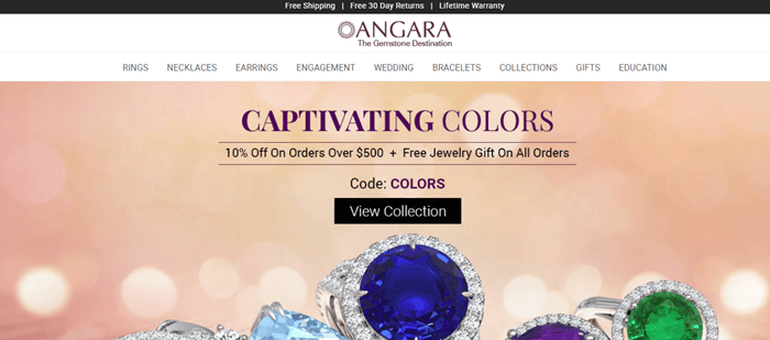 The website for Angara uses a peach-colored background with out of focus lights. There are various rings from the company with bright stones and surrounded by diamonds. Text talks about captivating colors, along with discounts.