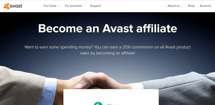 screenshot of the affiliate sign up page for Avast Software
