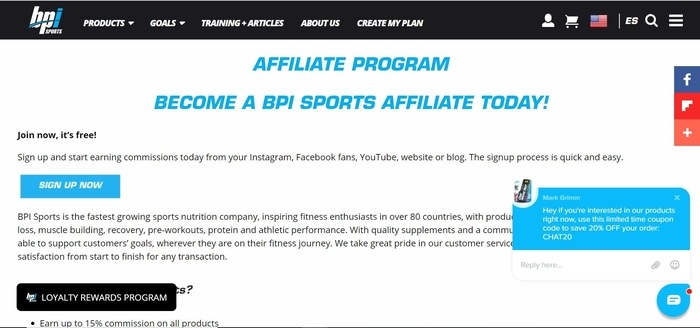 screenshot of the affiliate sign up page for BPI Sports