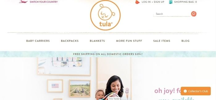 screenshot of the affiliate sign up page for Baby Tula