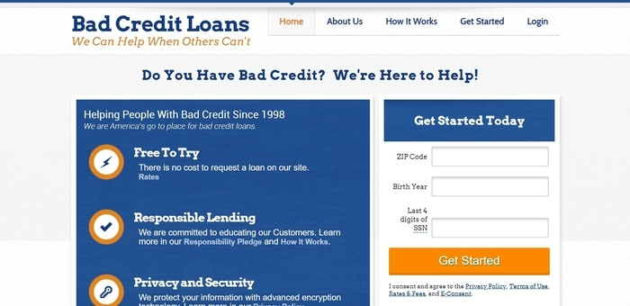 screenshot of the affiliate sign up page for Bad Credit Loans