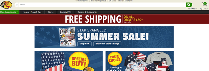 Bass Pro Shops website screenshot showing information about their Star Spangled Summer sale, along with images of various American-focused products.