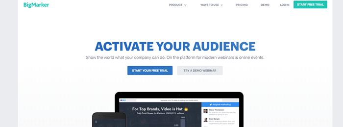 Big Marker website screenshot with a white background, showing blue text about activating your audience.