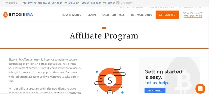 screenshot of the affiliate sign up page for Bitcoin IRA