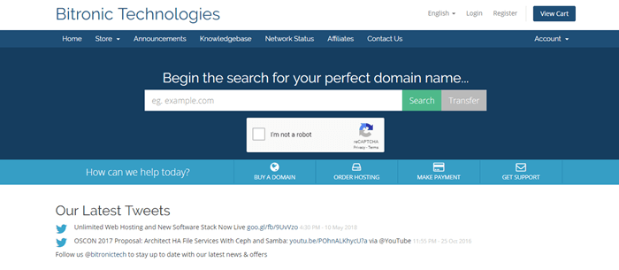 Bitronic Technologies website screenshot showing a blue background and a search bar.