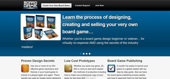 screenshot of the affiliate sign up page for Board Game Creation