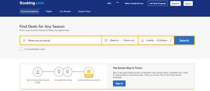 Booking.com website screenshot showing a bar with the ability to check in, along with details about booking.com's approach.