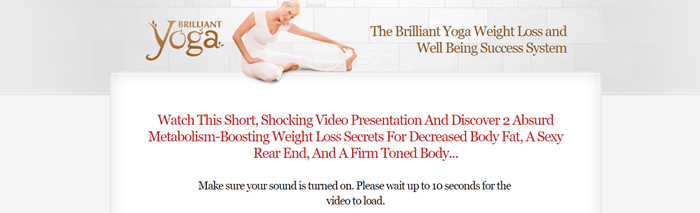 Brilliant Yoga website screenshot showing a young woman in white stretching.