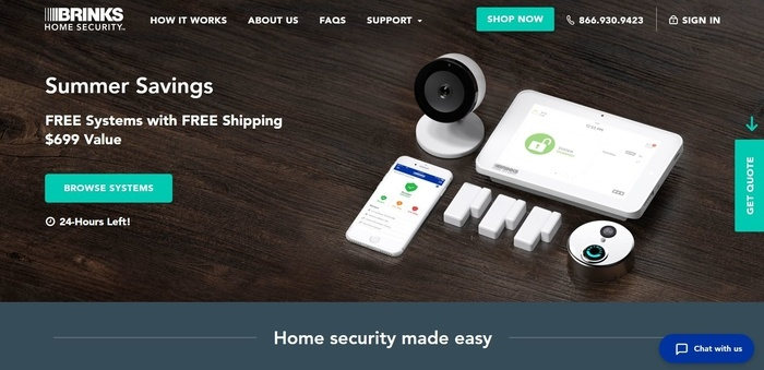 screenshot of the affiliate sign up page for Brinks Home Security