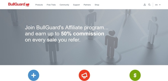screenshot of the affiliate sign up page for BullGuard