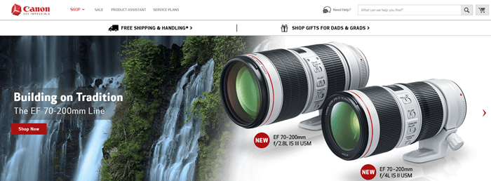 Canon website screenshot showing three waterfalls on the left-hand side and two camera lenses on the right of the website.