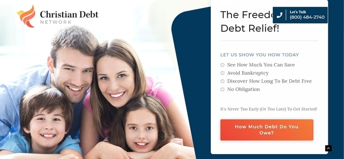 screenshot of the affiliate sign up page for Christian Debt Network