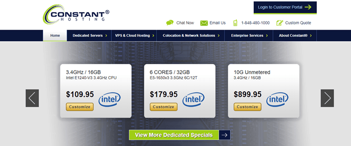 Constant Hosting website screenshot showing three different plans and their price tiers.
