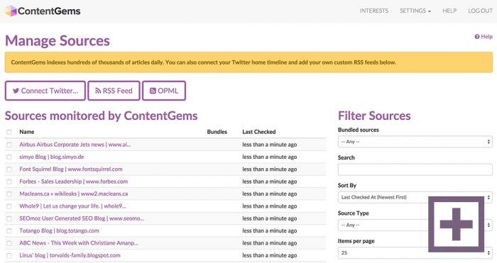 "The ContentGems source manager. The list shows the content sources with their ""last checked"" dates. On the right are the filters."