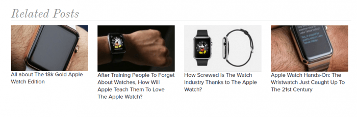 The related posts widget showing four posts in a row. Each post appears with a thumbnail and a title.