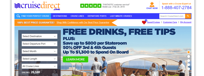Cruisedirect website screenshot showing a background image of people on the deck of a cruise boat, along with details about free drinks and tips.