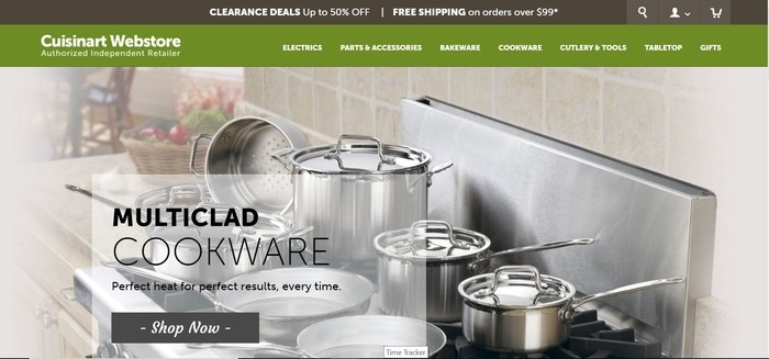 screenshot of the affiliate sign up page for Cuisinart Webstore