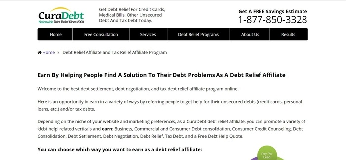 screenshot of the affiliate sign up page for CuraDebt