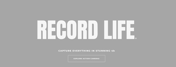 Cyclops Gear website screenshot with a gray background and white text that says Record Life.
