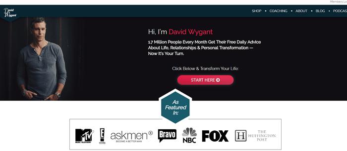David Wygant website screenshot showing a black background with David Wygant himself standing on the left-hand side.