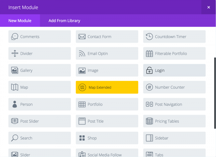 The Divi Modules page. The plugin's modules (comments, contact form, countdown timer, divider, email optin, image, etc.) are listed in a grid layout. The new module tab enables you to add extra functions.