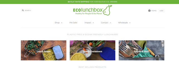 ECOlunchbox website screenshot showing three images of the different products from the company.