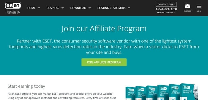 screenshot of the affiliate sign up page for ESET