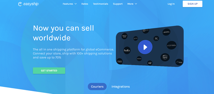Easyship website screenshot showing a blue background, details about shipping online and a video in the shape of a mobile phone.