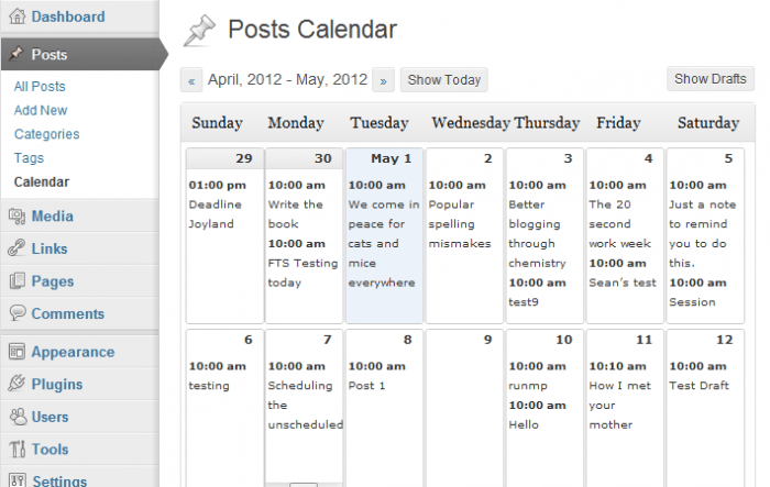 The posts calendar inside the WordPress dashboard. Inside each day's slot is listed the timing of each post with a title for it.