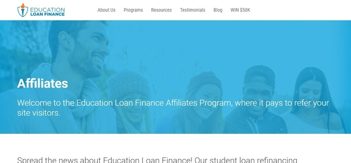 screenshot of the affiliate sign up page for Education Loan Finance